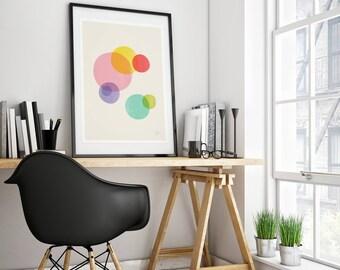 Mid-century modern art, vintage style print, abstract artwork - Rainbow Bubbles colorful wall art print