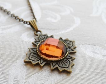 75% Off Sale Persimmon Faceted Glass Necklace