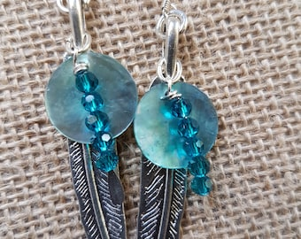 Feather and crystal earring