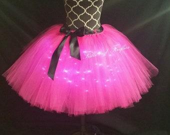 Hot Pink LED Tulle Skirt/Light Up Tutu Skirt/Lighted Tutu Skirt/Festival Clothing/Cosplay Costume/Bridal Skirt/Halloween/Costume/Tutu Skirt