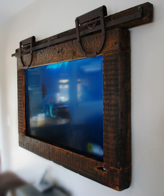 TV Frame Made From Reclaimed Barn Wood and Hardware