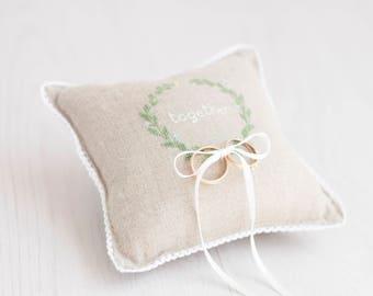 Ring Bearer Pillow, Wedding Ring Pillow, rustic ring pillow, laurel wreath ring pillow, personalized ring bearer pillow, hygge wedding decor