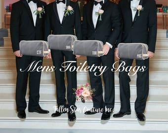 Gray Men's Toiletry Bag , Dopp Kit , personalized Men's travel Bag , Groomsman Gift , Groomsmen gift bag, embroidered gifts