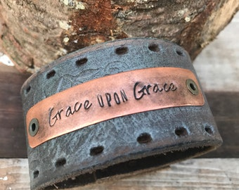 Stamped Leather Cuff-Grace upon Grace-Word Cuff-Personal Gift