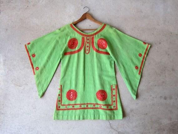 Vintage Indian Dashiki Dress   Green Cotton Tunic Top   Red Embroidered Banjara Mini Dress Caftan Ethnic Boho Tribal Womens Small