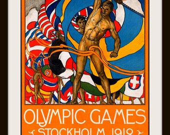Olympic Games Stockholm  - Vintage Advertisement Poster from 1912 - Wall Art, Den Art, Man Cave Art