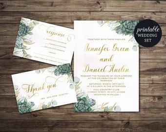Floral Wedding Invitation Printable Succulent Wedding Invitation Set Gold green Wedding Invite Printable wedding Invitation Greenery