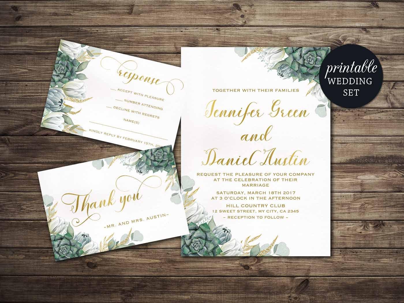 Floral Wedding Invitation Printable Succulent Wedding