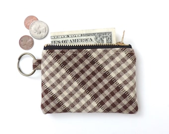 Keychain Coin Purse Slim Wallet Zipper Pouch Brown Plaid