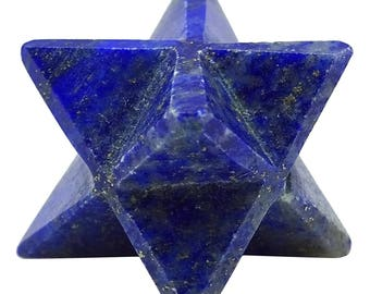 Lapis Lazuli Merkaba Reiki Healing Crystal, Spiritual Sacred Energy Balancing Gift, Natural Gemstone With Gift Pouch HCD1380F