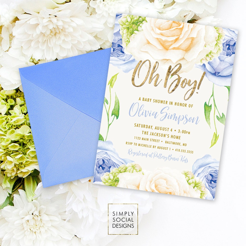 Blue Floral Baby Shower Invitation - Oh Boy It\'s a Boy Roses ...