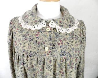 Vintage  Sand & Floral Print Cottage Grunge Dress  Size S - M