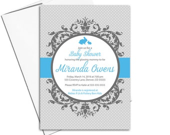 Custom baby shower invitations for boys | printable baby shower invite | blue and gray - digital invitations for baby shower - WLP00790