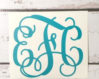 Vine Font Vinyl Monogram Interlocking Three Initial Sticker Car Decal Laptop Decal Notebook Decal