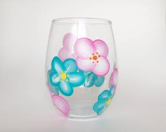 Floral wine glass//spring wine glass