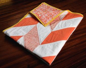 Orange and Yellow Herringbone Baby Quilt