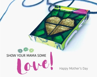 Mothers Day gift Upcycled Mosaic Necklace