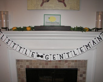 LITTLE GENTLEMAN Banner with Bowtie - Baby Decoration - Shower - 1st Birthday- Custom Colors - Photo Prop - Baby Boy - Bow Tie - Mustache