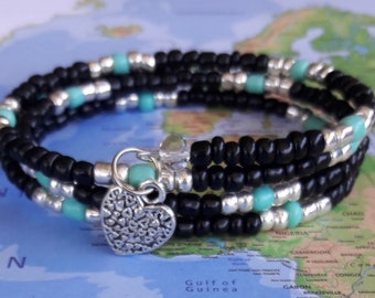 Black, Turquoise and Silver Seed Beads on Memory Wire Bracelet-Cuff Bracelet, Coil Bracelet-