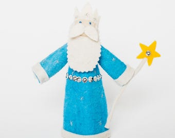 Felt King Ornament, Snow King, Felt Christmas Ornament