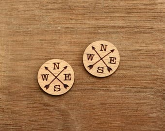 8 pcs Compass North South West East Wood Charm, Carved, Engraved, Earring Supplies, Cabochons (WC 413)