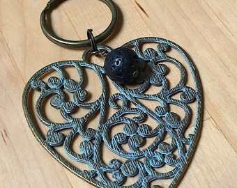 Patina Pewter filigree heart keychain with lava bead for essential oils, key ring, heart key ring, essential oils keyring, lava bead