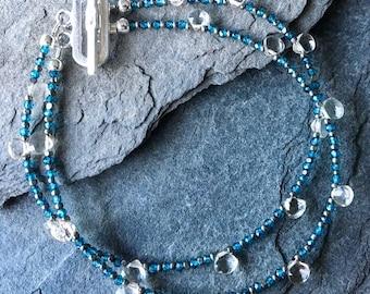 Smoky Quartz and London Blue Quartz Bracelet