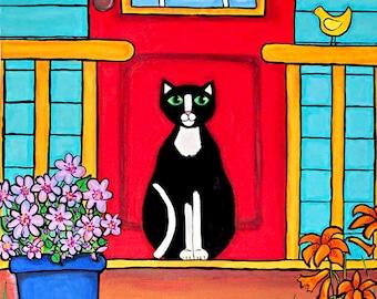 Red door Tuxedo cat folkart Print Shelagh Duffett