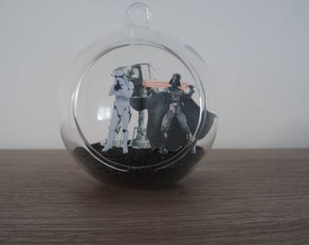 Suspension / glass ball decoration Star Wars Darth Vader and Stormtrooper to hang or place the last Jedi