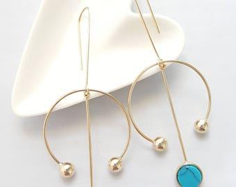 Turquoise Marble Geo Earrings,Marble Stone Earrings,Turquoise Stone Earrings,Turquoise Marble Earrings,Stone Earrings,Marble Dangle Earrings