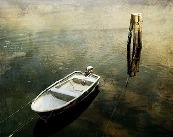 Abstract photo art, minimalist landscape, lonely boat in the water, winter photo, 8x10 photo print