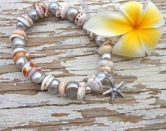 Tiger Puka Shells with Freshwater Pearls & 925 Silver Starfish Charm Stretch Bracelet