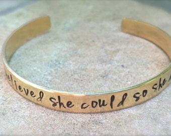 Graduation Gift, She Believed She Could So She Did Bracelet, Graduation 2018, Gifts for Graduation, Personalized Cuff, natashaaloha