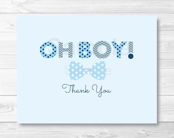 Oh Boy Bow Tie Folded Thank You Card Template / Little Man Baby Shower / Baby Shower Thank You Card / PRINTABLE Instant Download A290