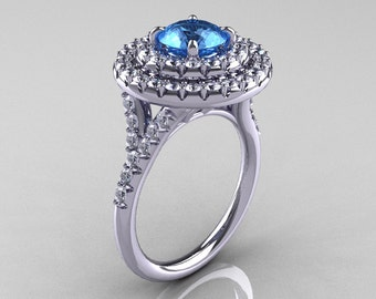 Classic Soleste 14K White Gold 1.0 Ct Blue Topaz Diamond Ring R236-14KWGDBT