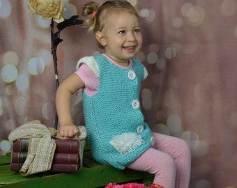 Vest knitted kids baby girl knitt