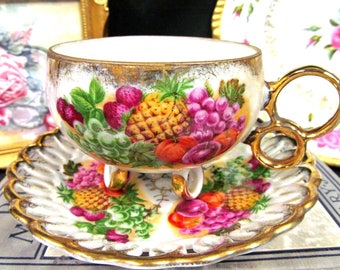 Royal Sealey Tea Cup and Saucer 3 Ring Footed Teacup Set Open Edges Cup Saucer
