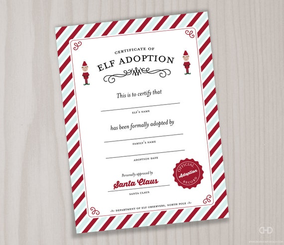 elf adoption certificate or elf welcome letter printable