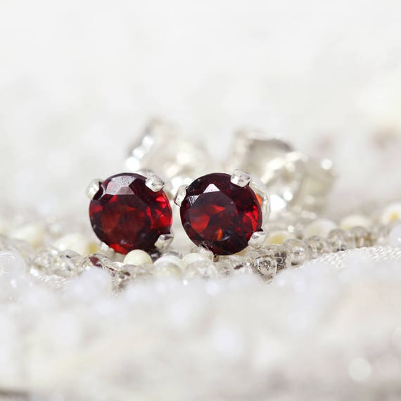 Garnet Earrings - Red Stud Earrings