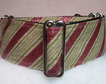 Martingale Collar, Candy Stripe, Martingale Collar, Whippet Martingale Collar, Greyhound Martingale Dog Collar, Galgo Collar, Red/Green/Tan
