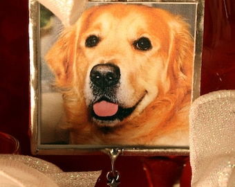 Golden Retriever Photo Ornament, FREE US Shipping, Happy Golden Days, Silver Solder, Holidays, Christmas, Pet Memorial