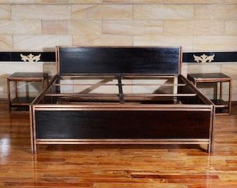 Bettrahmen 180 x 200 aus recyceltem holz und metall | massivholz und metall Bettgestell | 180 x 200 x 100 | Industrie design Betten