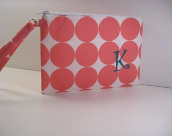 Personalized Bridesmaid Gift - Clutch- Zipper Pouch- Personalized Wristlet - Chevron - Small