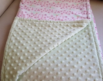 ON SALE Reversible Minky Blanket, Baby Girl, Pink and Mint Elephant Print, Car Seat or Stroller Size - 28 X 44 in.