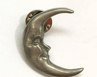 Pewter Crescent Moon Brooch