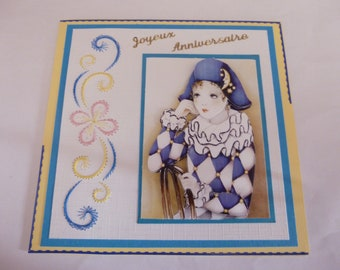 """2018128 embroidered """"sweet Harlequin"""" card"""