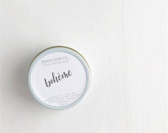 Bohème Solid Perfume Balm- fragrance - scent-moisturizer- coconut oil- cocoa oil- vitamin e- shea butter- beeswax-salve- stocking stuffer