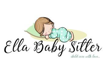 Custom logo design, baby sleeping logo, baby sitter logo, child sleeping, baby premade logo, logo baby, logo for child care baby sitter