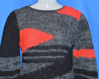 80s Gray Black Red Vintage Abstract Geometric Sweater Women's Small