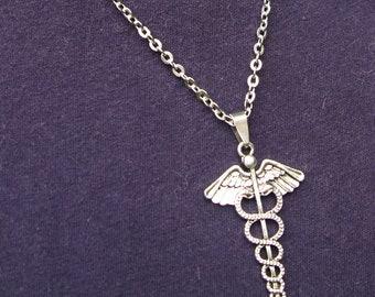 Caduceus pendant etsy caduceus symbol necklace medical caduceus symbol charm caduceus charm caduceus pendant caduceus mozeypictures Image collections